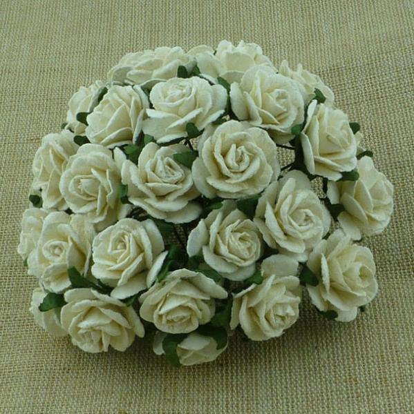 Ivory Mulberry paper open roses MKX-014-25mm 5tk