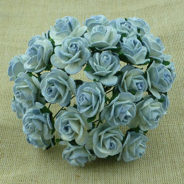 Antique Blue 2-tone Mulberry paper open roses (MKX-020-20mm) 10tk