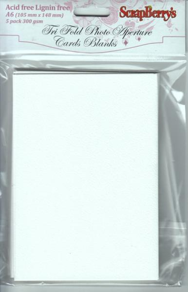 ScrapBerry's Tri fold blank cards A6, white 5pcs