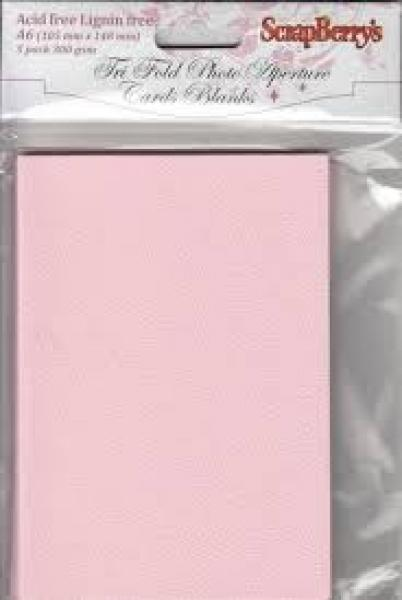ScrapBerry's Tri fold blank cards A6, pink 5pcs