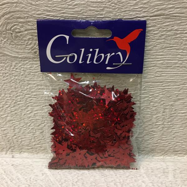 Litrid, tähekesed, punased, 13mm, 10 grammi