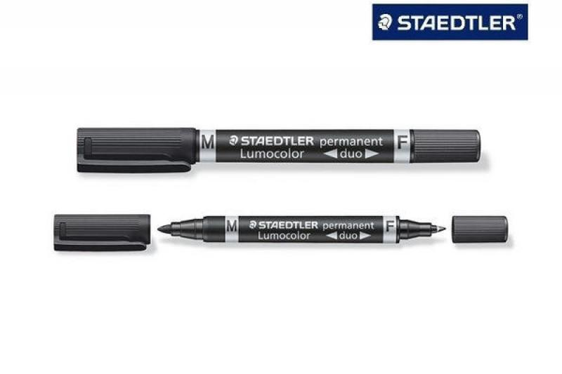 Marker Lumocolor duo must, kahe otsaga 0,6/1,5mm, Staedtler/10