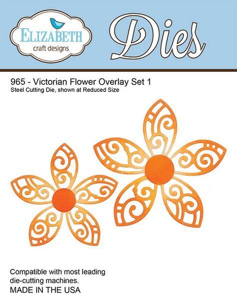 Lõiketera Elizabeth Dies Victorian Flower Overlay Set 1