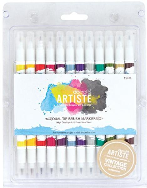 Docrafts Artiste Brush Markers 12pcs Vintage Acid & Lignin Free