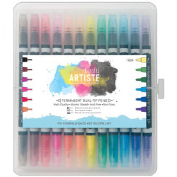 Docrafts Artiste Brush Markers 12pcs Birghts Alcohol Based