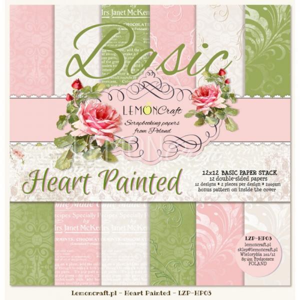 Disainpaberite plokk 30x30LemonCraft Heart Painted 12psc 12 design 2pcs per design