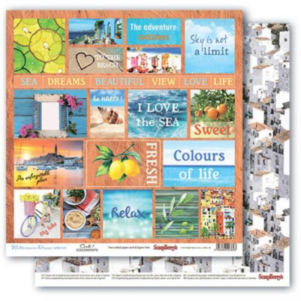 Disainpaber 30x30 ScrapBerry's Mediterranean Dreams Cards 1