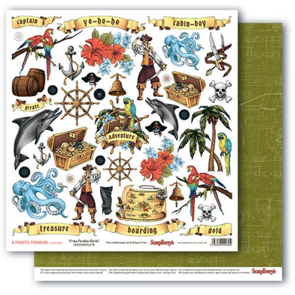 Disainpaber 30x30 ScrapBerry's The Pirate's Treasure Pirate Paradise (cards)