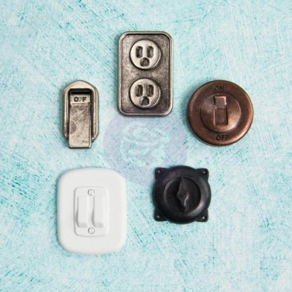 Prima Marketing Junkyard Findings Switches & Outlets 5pcs