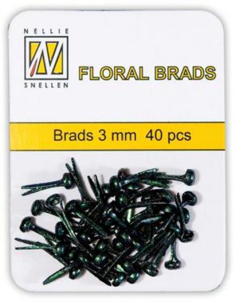 Nellie's Choice Floral brads 3mm 40pcs black