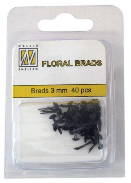 Nellie's Choice Floral brads 3mm 40pcs black/black