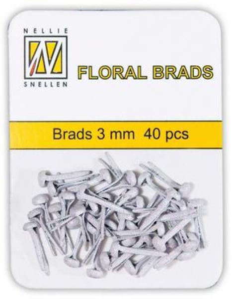 Nellie's Choice Floral brads 3mm 40pcs white