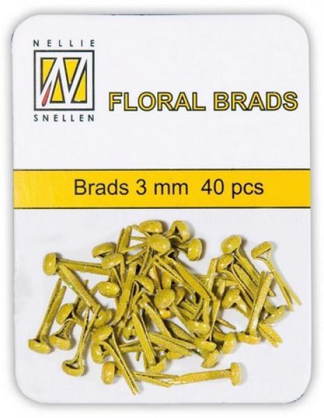 Nellie's Choice Floral brads 3mm 40pcs yellow