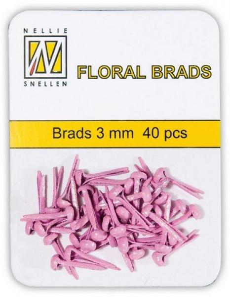 Nellie's Choice Floral brads 3mm 40pcs pink