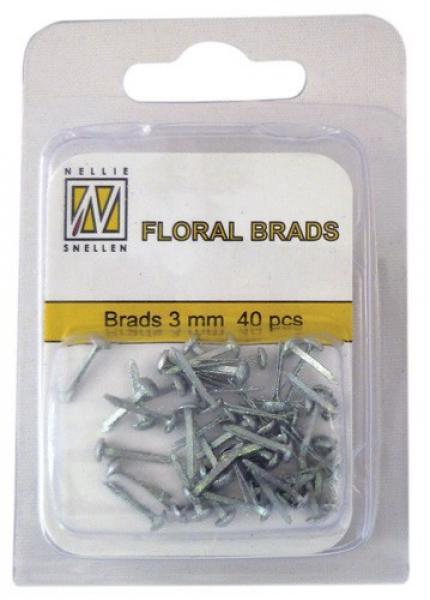 Nellie's Choice Floral brads 3mm 40pcs silver