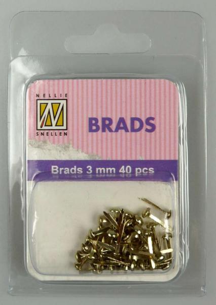 Nellie's Choice Floral brads 3mm 40pcs gold