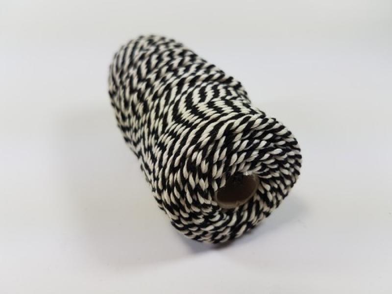 Puuvillane nöör 3mm 100g musta/valge