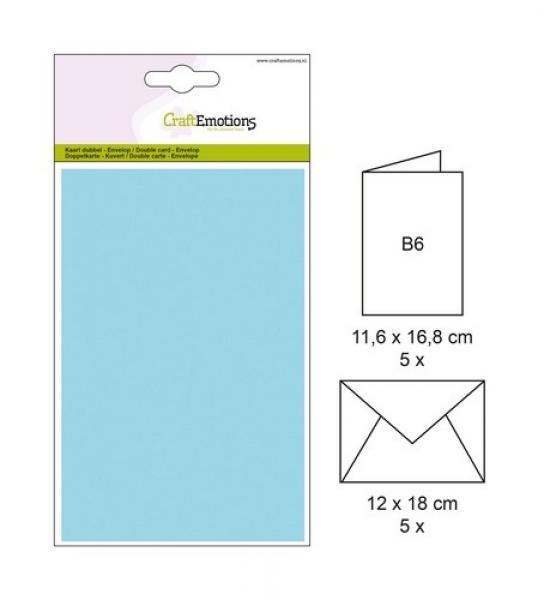 Ümbrik + kaarditoorik 16,8x11,6cm 5tk helesinine