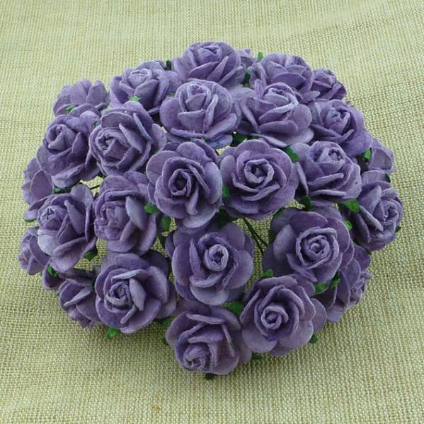 Lavender Mulberry Paper Open Roses MKX-027 25mm 5tk