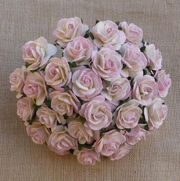 Baby pink/ivory mulberry paper open roses MKX-009-15mm 10tk