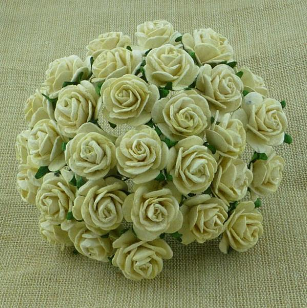 Deep Ivory Mulberry Paper Open Roses MKX-015-25mm 5tk