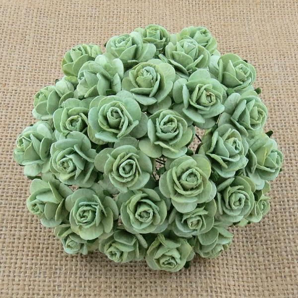 Mint Green Mulberry Open Roses MKX-717-15mm 10tk