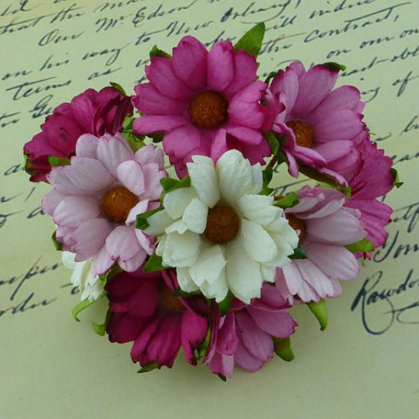 Mixed pink/white mulberry paper chrysanthemums QVR-003 5tk
