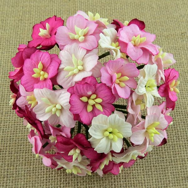 Mixed pink mulberry paper apple blossoms MKX-211 5tk