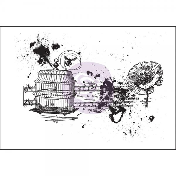 Prima Marketing Mixed Media Cling Stamp - Treasured Memori
