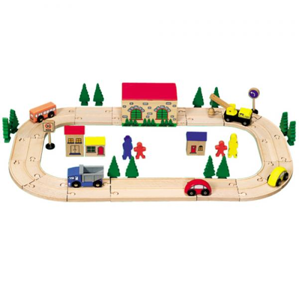 Wooden road set 45 pcs