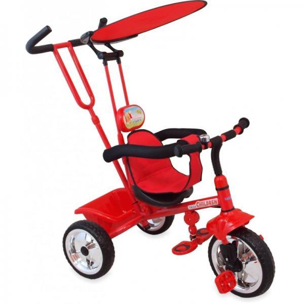 Kolmerattaline jalgratas lastele juhtsangaga Punane