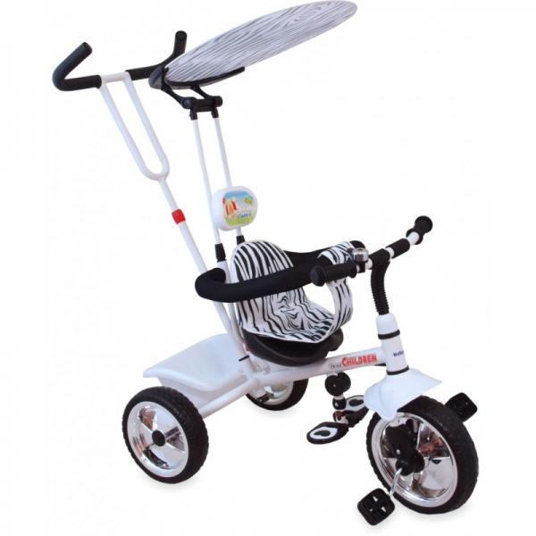 Kolmerattaline jalgratas lastele juhtsangaga Valge