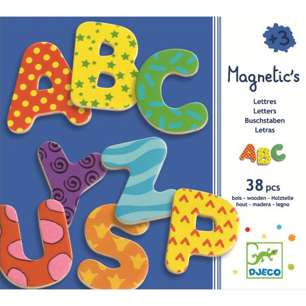 Wooden magnetics - 38 fancy letters
