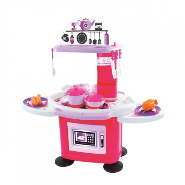 Детская кухня с посудой,светом и звуком Розовая (78 см)