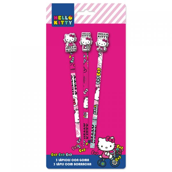3 Pencils with rubber HELLO KITTY