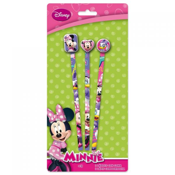 3 Pencils with rubber MINNIE
