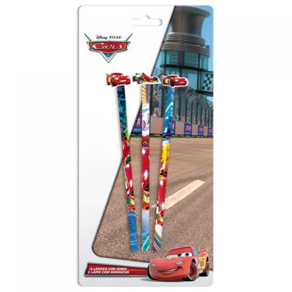 Комплект простых карандашей с большой резинкой CARS 3шт.