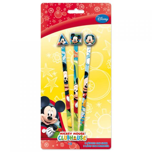 3 Pencils with rubber MICKEY