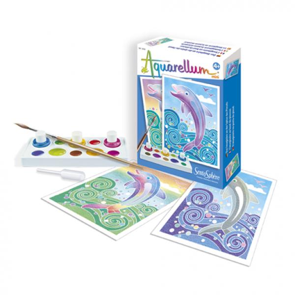 """Akvarelli värvimispildid (mini) """"Delfiinid"""""""