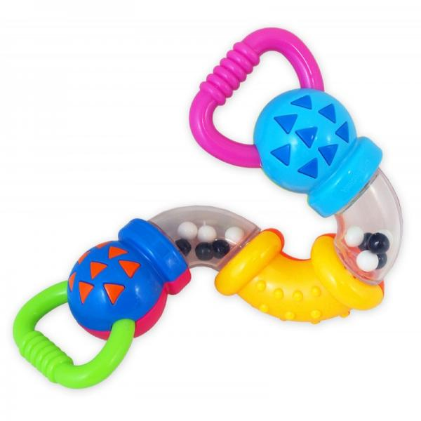 Plastic rattle with teether