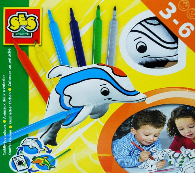 Dolphin Plush Toy Coloring Kit, SES