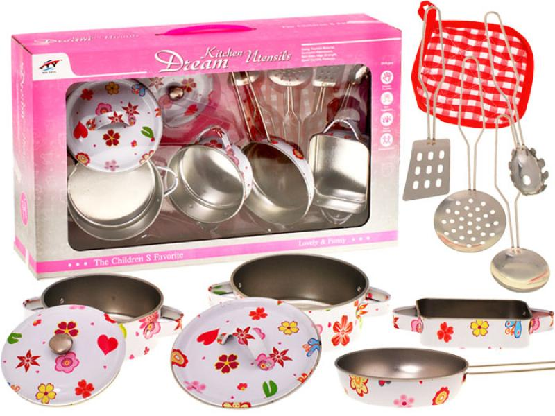 Metal kitchen set with flowers for girls