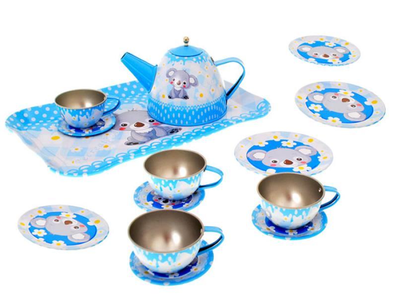 Metal tin plated tea set 14 pcs
