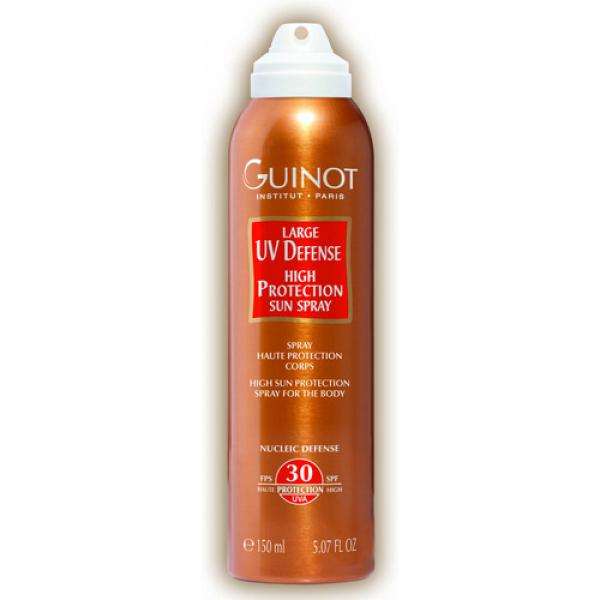 Guinot Large Defense UV SPF 30 Kõrge päikesekaitsega spray kehale.