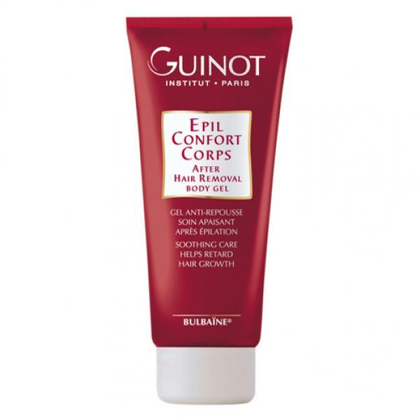 Guinot Ligne Epilation Epil Confort Corps. See nahka rahustav ja karvakasvu pärssiv Bulbaïne®´i sisaldav geel hoiab nahka kauem siledana. Karvad kasvavad tagasi aeglasemalt ning on heledamad ja õrnemad.