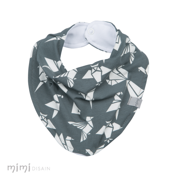Mimi Bib Birds Grey