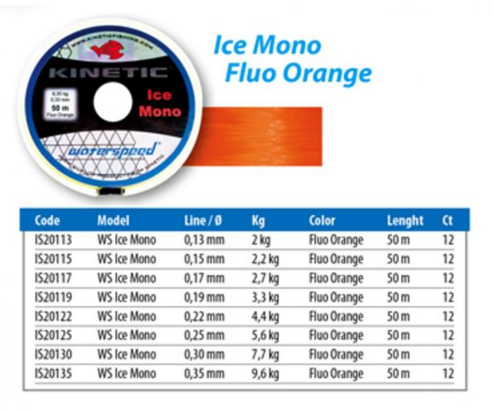 Tamiil KINETIC Ice Mono fluor orange 50m 0,25mm 5,6kg