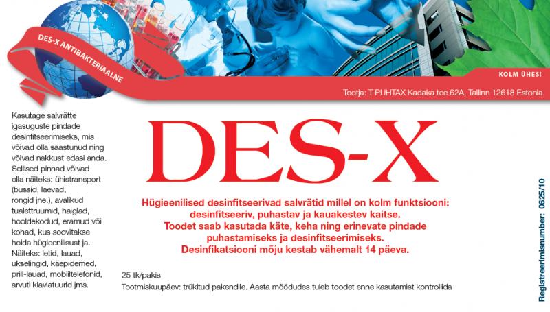 DES-X antibakt. niisutatud salvrätid 25tk