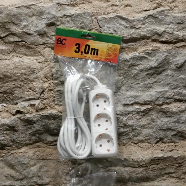 Pikendusjuhe 3 pesa, juhe 3m 3G1,0mm² 10A valge