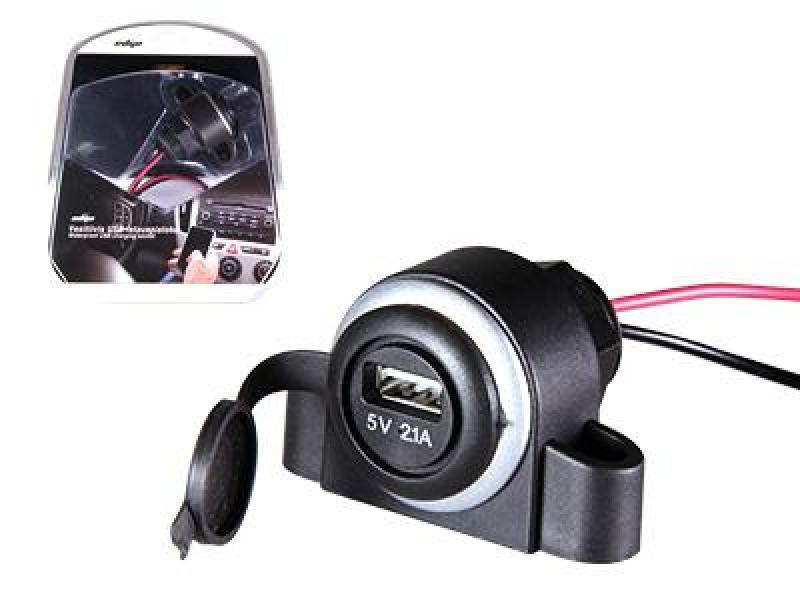USB-autolaadija 12-24V, veekindel, 1xUSB-port, laadimisvoimsus 2,1A / 5V